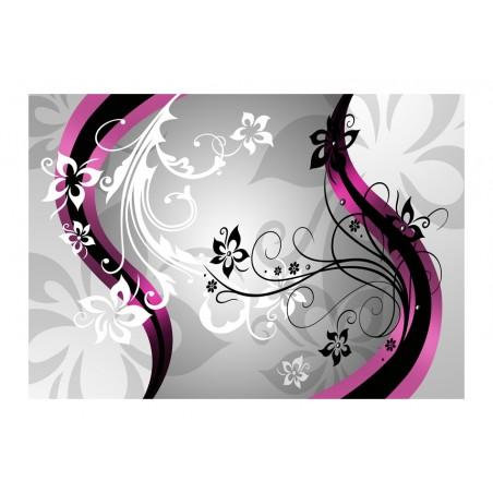 Fotomurale - Zig zag floreali (rosa) - Quadri e decorazioni