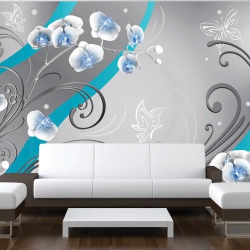 Fotomurale - Blu Orchidee - una variazione - Quadri e decorazioni