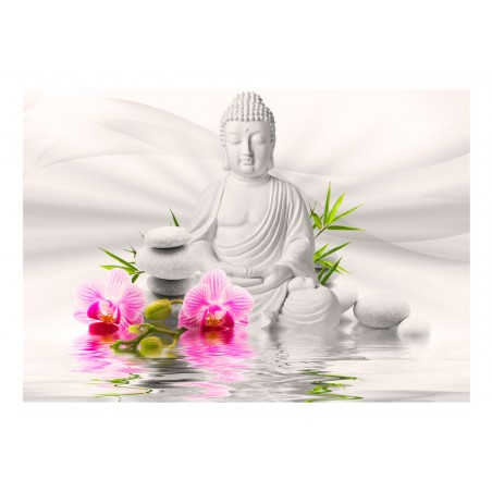 Fotomurale - Buddha e orchidee - Quadri e decorazioni