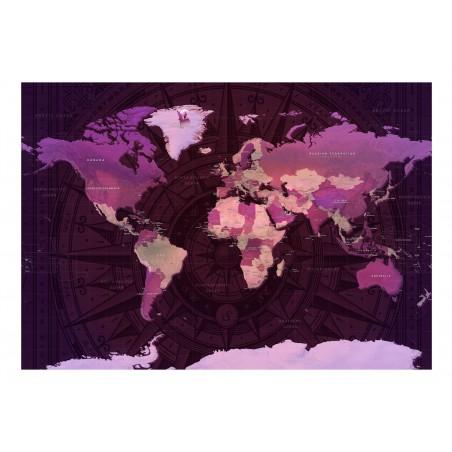 Fotomurale - Purple World Map - Quadri e decorazioni
