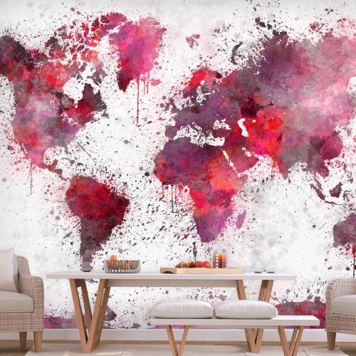 Fotomurale - World Map: Red Watercolors - Quadri e decorazioni