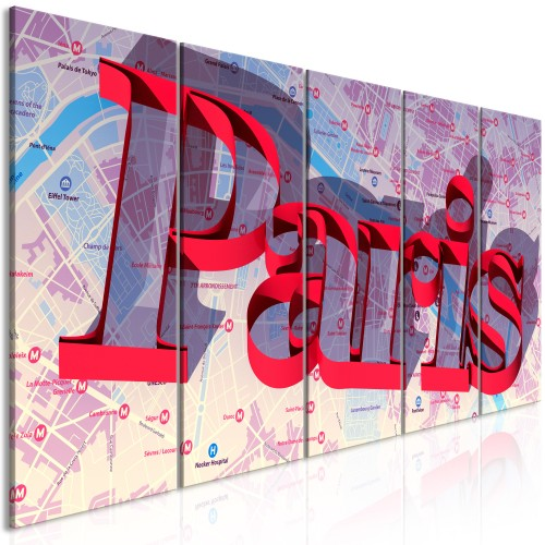 Quadro - Red Paris (5 Parts) Narrow - Quadri e decorazioni