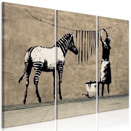 Quadro - Banksy: Washing Zebra on Concrete (3 Parts) - Quadri e decorazioni