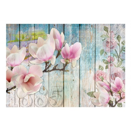 Fotomurale - Pink Flowers on Wood - Quadri e decorazioni