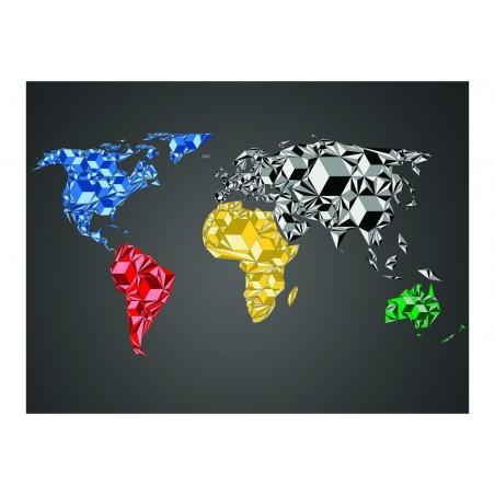 Fotomurale - Map of the World - colorful solids - Quadri e decorazioni