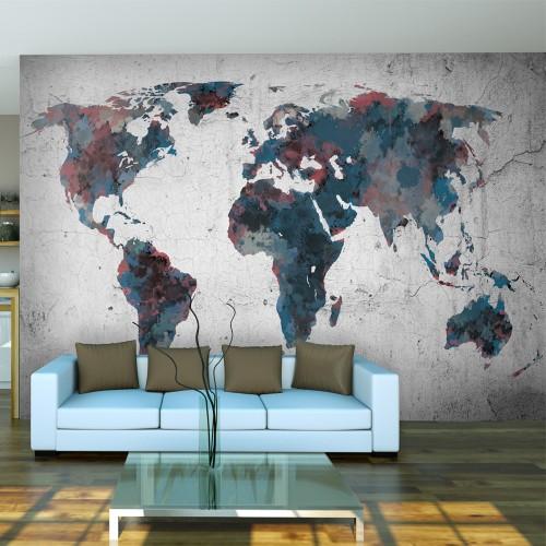 Fotomurale - World map on the wall - Quadri e decorazioni