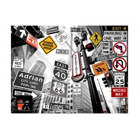 Fotomurale - Segnali di NYC su sfondo bianco-nero - Quadri e decorazioni