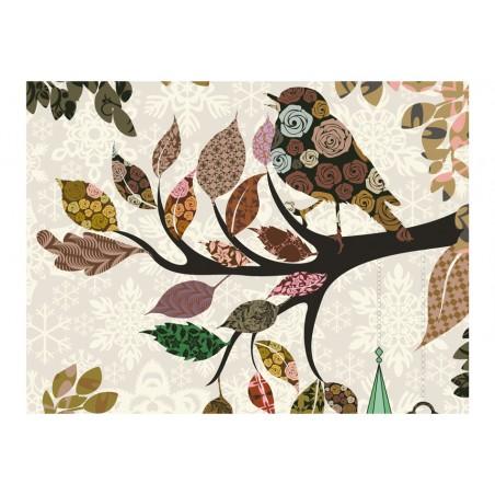 Fotomurale - Uccellino su ramo (patchwork) - Quadri e decorazioni