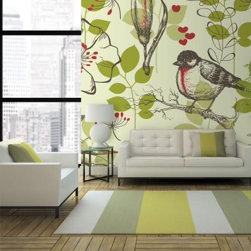 Fotomurale - Motivo vintage con gigli ed uccellini - Quadri e decorazioni