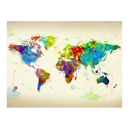 Fotomurale - Paint splashes map of the World - Quadri e decorazioni