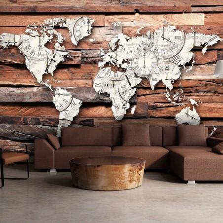 Fotomurale - Map On Wood - Quadri e decorazioni