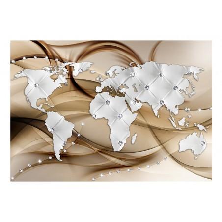Fotomurale - World Map - White & Diamonds - Quadri e decorazioni