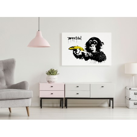 Quadro - Banksy: Monkey with Banana (1 Part) Wide - Quadri e decorazioni