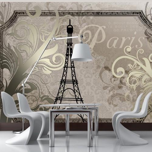 Fotomurale - Vintage Paris - color oro - Quadri e decorazioni