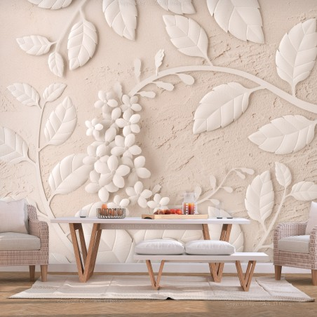 Fotomurale - Paper Flowers (Beige) - Quadri e decorazioni
