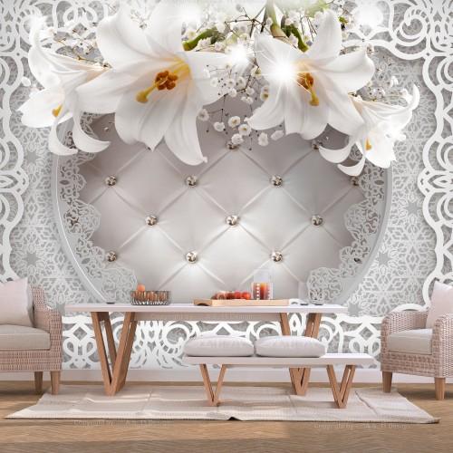 Fotomurale - Lilies and Quilted Background - Quadri e decorazioni