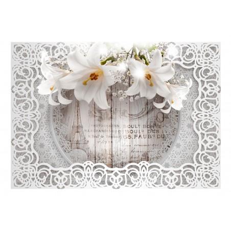 Fotomurale - Lilies and Wooden Background - Quadri e decorazioni