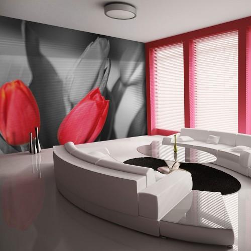 Fotomurale - Tulipani rossi su sfondo bianco e nero - Quadri e decorazioni