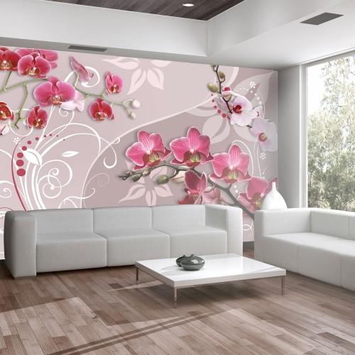 Fotomurale - Volo di orchidee rosa - Quadri e decorazioni