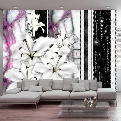 Fotomurale - Gigli piangenti su marmo viola - Quadri e decorazioni