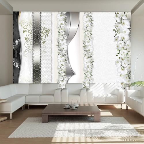 Fotomurale - Parata di orchidee di tonalità del grigio - Quadri e decorazioni