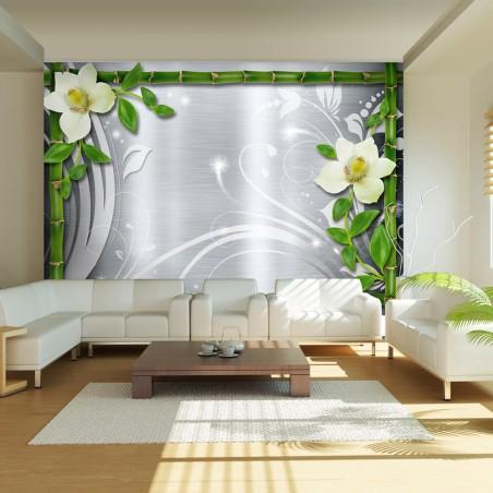 Fotomurale - Bambù e due orchidee - Quadri e decorazioni