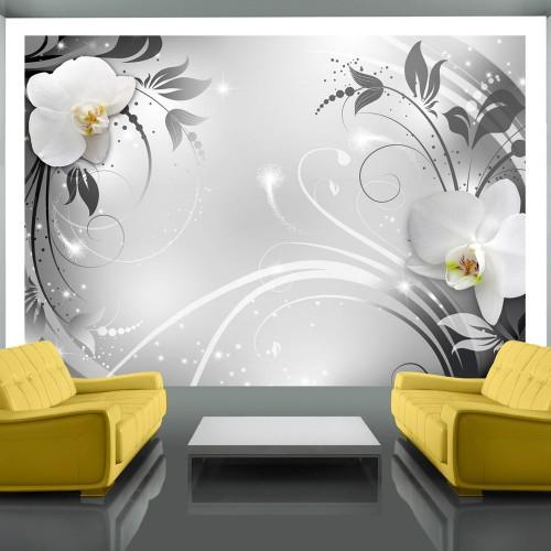 Fotomurale - Orchidee su argento - Quadri e decorazioni