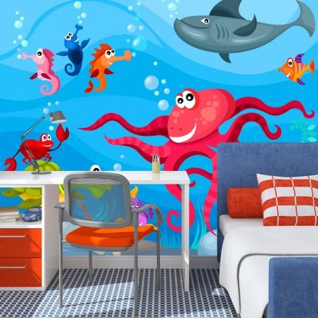 Fotomurale - Polpo e squalo - Quadri e decorazioni