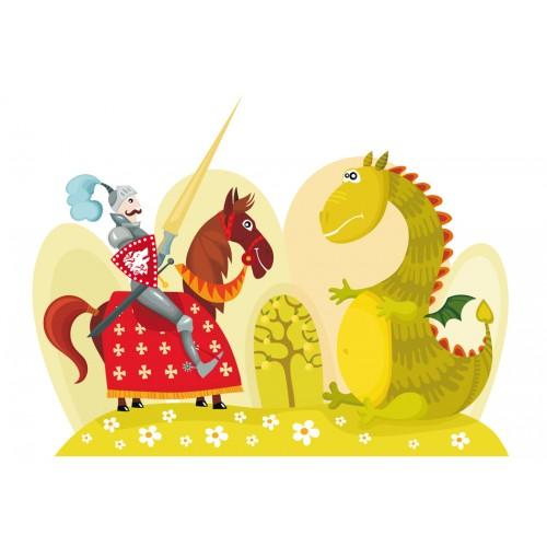 Fotomurale - Drago e cavaliere - Quadri e decorazioni