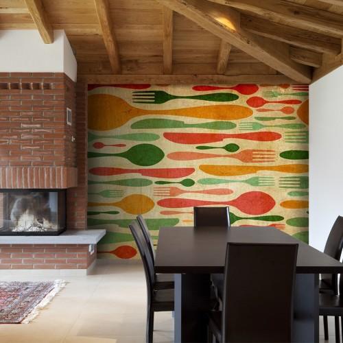 Fotomurale - Posate - verde e arancio - Quadri e decorazioni