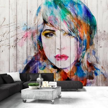 Fotomurale - Ritratto su legno - Quadri e decorazioni