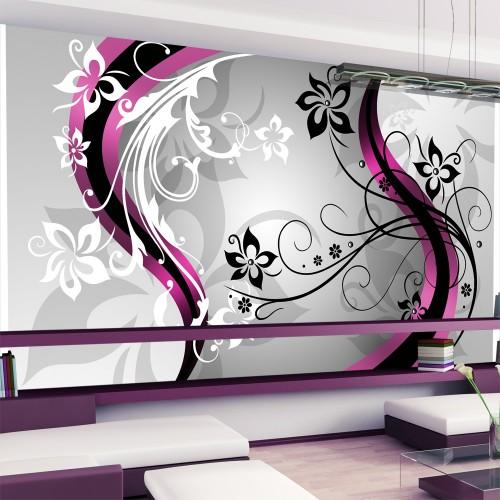 Fotomurale XXL - Zig zag floreali (rosa) - Quadri e decorazioni