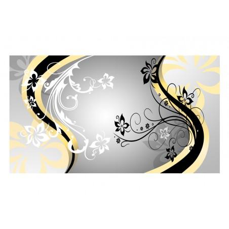 Fotomurale XXL - Zig zag floreali (giallo) - Quadri e decorazioni