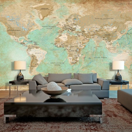 Fotomurale XXL - Turquoise World Map II - Quadri e decorazioni
