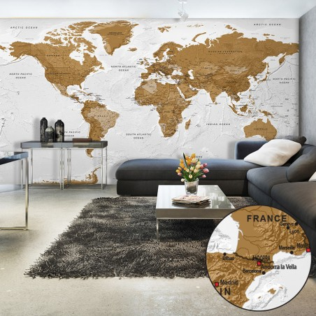 Fotomurale XXL - World Map: White Oceans II - Quadri e decorazioni