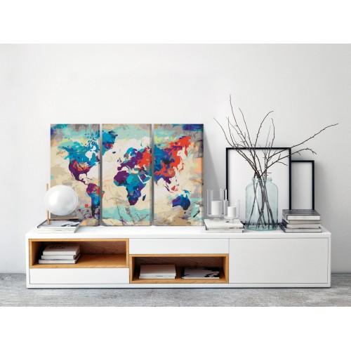 Quadro fai da te - World Map (Blue & Red) 3 Parts - Quadri e decorazioni