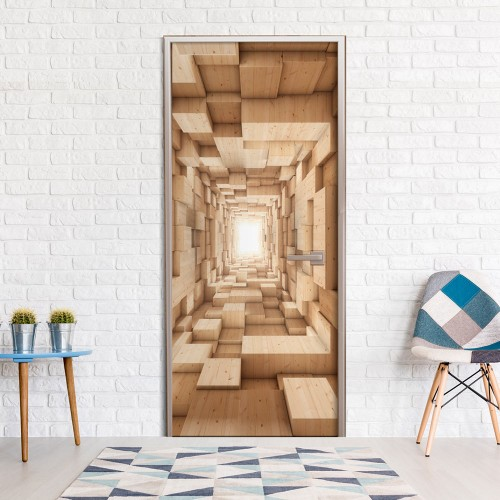 Fotomurale per porta - Wooden Tunnel - Quadri e decorazioni