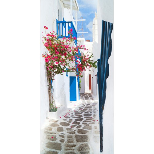 Fotomurale per porta - Walk through Santorini - Quadri e decorazioni