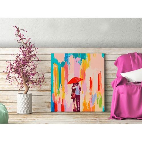 Quadro fai da te - Coppia sotto ombrello (sfondo rosa) - Quadri e decorazioni