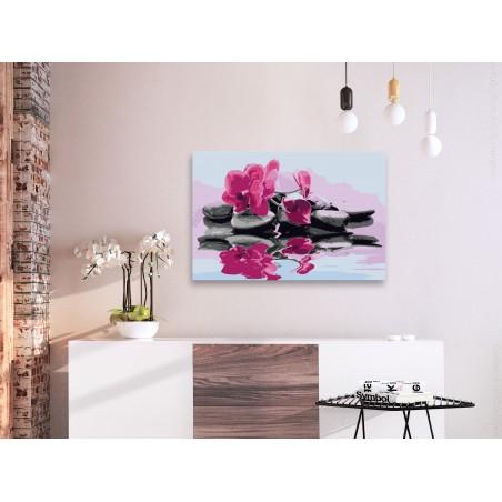Quadro fai da te - Orchidea e sassi zen nello specchio dell'acqua - Quadri e decorazioni