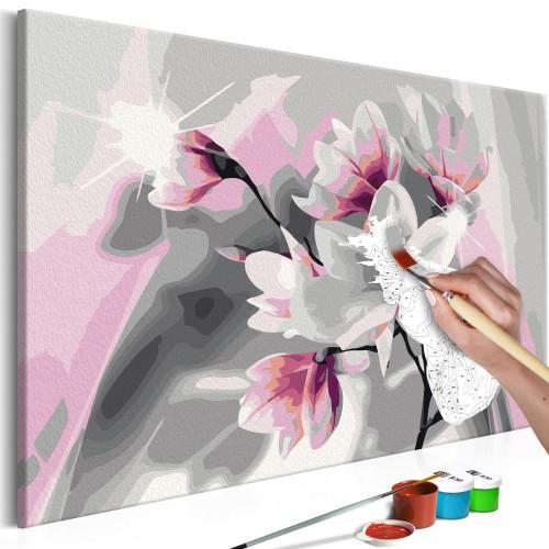 Quadro fai da te - Magnolia (sfondo grigio) - Quadri e decorazioni