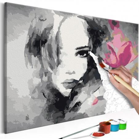 Quadro fai da te - Ritratto in bianco e nero con fiore rosa - Quadri e decorazioni