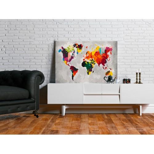 Quadro fai da te - Mappamondo (colori sgargianti) - Quadri e decorazioni