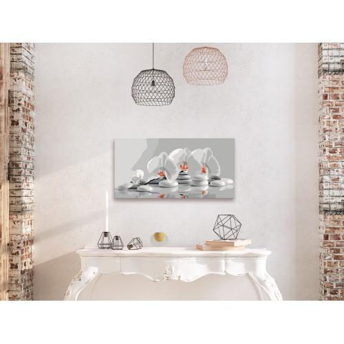 Quadro fai da te - Orchidea (bianco e grigio) - Quadri e decorazioni