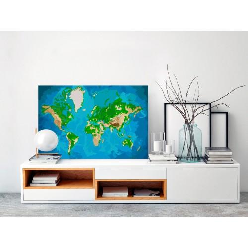 Quadro fai da te - Mappamondo (blu-verde) - Quadri e decorazioni