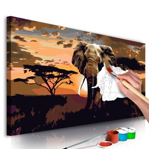 Quadro fai da te - Elefante in Africa (sfumature di marrone) - Quadri e decorazioni