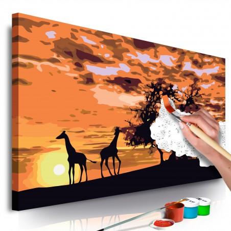 Quadro fai da te - Nel mezzo della savana (Giraffe & Elefanti) - Quadri e decorazioni