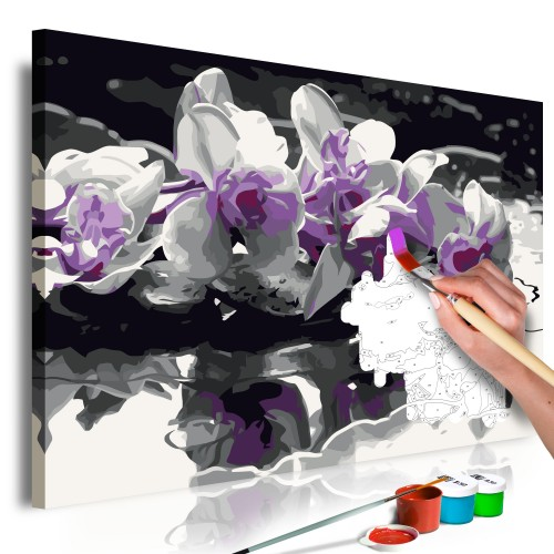 Quadro fai da te - Orchidea viola (sfondo nero e riflesso nell'acqua) - Quadri e decorazioni