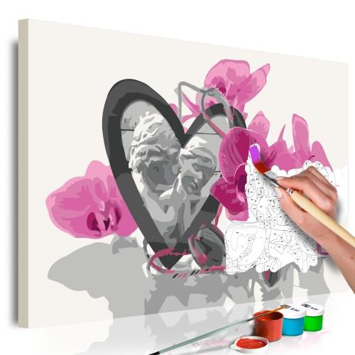 Quadro fai da te - Angioletti (cuore e orchidea rosa) - Quadri e decorazioni