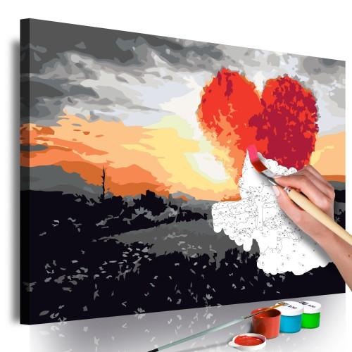 Quadro fai da te - Albero a forma di cuore (sorgere del sole) - Quadri e decorazioni